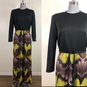 Vintage Black & Print Bottom Maxi Dress 1970s Sz M